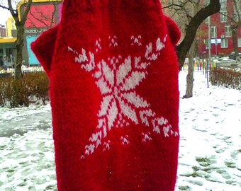 Red and White Knit wear for dog, White snowflake