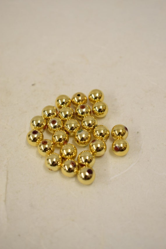 Beads Vintage 120 Bright Gold Plated Round  Beads Handmade Jewelry Necklaces Bracelets Earrings Creative Jewelry Vintage Beads 4
