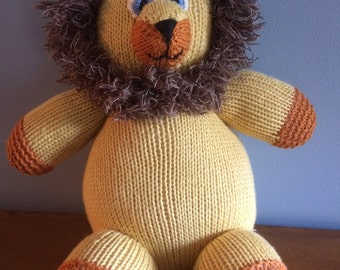 "Knitted Stuffed ""Larry"" The Lion"