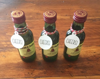 """Cheers Tags (1"""" wide), Cheers Favor Tags, Tags for Liquor Nips, Wedding Drink Tags,"""