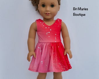 18 inch doll clothes AG doll clothes Pink Sparkly Dress made to fit like American Girl doll clothes