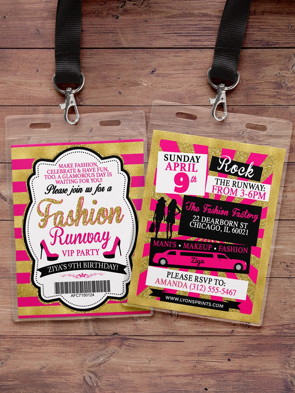 Rock the Runway ticket birthday party invitation popstar