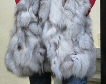 NEW! Natural,Real LONG Hooded  Fox Fur Vest!!!