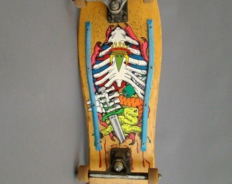 Vintage Skateboard; Mark Lake; Guts; Bridgebolt; Lake Skateboard; Neon; 80's; Gullwing; Shadow; Bones; Ribcage; SK8; Game Room; Man Cave