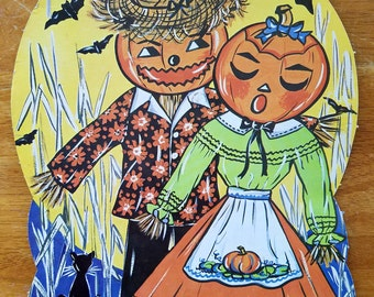 Vintage Paper Halloween Decor Scarecrow Pumpkin Head Couple