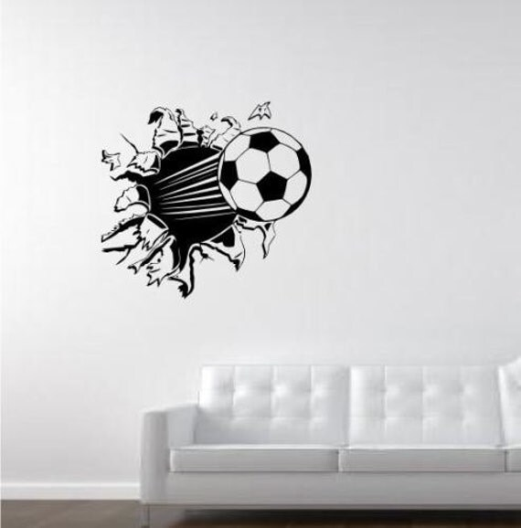 football soccer ball through wall decal quote wall art home. Black Bedroom Furniture Sets. Home Design Ideas