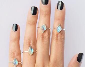 Delicate Dainty Pear Rainbow Moonstone 925 Silver Ring / Moonstone Stacking Ring / Cute Rainbow Moonstone Ring / Teardrop Ring
