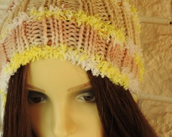 Woman's Hand Knitted Beige Multicoloured Pompom Hat - Free Shipping