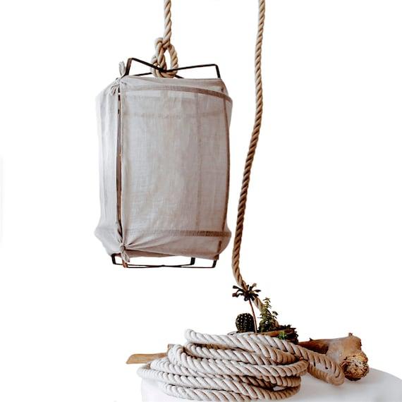 Rustic Light Industrial Chandelier Rope Pulley By: Handmade Rustic Rope Pendant Light Boho Industrial Lighting
