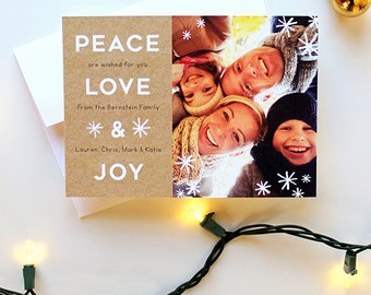 Holiday Card with Photo - 5x7 - Peace, Love and Joy - Kraft and Snowflakes - Printable and Personalized