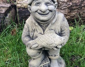 Stone fisherman garden ornament fishing statue