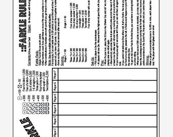 PDF 8.5x11 farkle and farkle rules one page