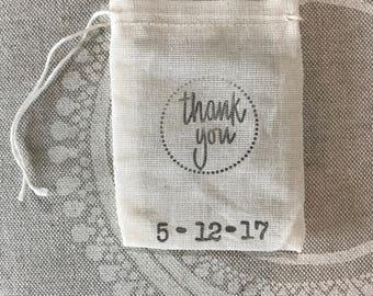Thank you favor bags - guest favor - muslin mini bags - wedding - reception