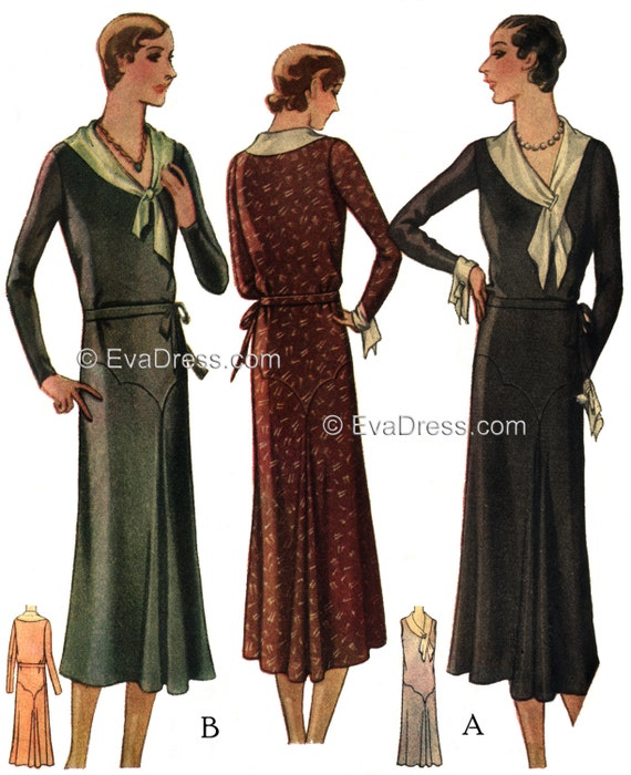 1920s Patterns – Vintage, Reproduction Sewing Patterns 1929 Frock Pattern by EvaDress $25.00 AT vintagedancer.com