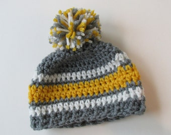 Striped Beanie~Micro preemie up to Adult sizes crochet hat- with or without Pom pom-You Choose the colors