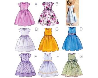 Sewing Pattern for Girls Dress, Sleeveless or Short Sleeves, Dirndl Skirt, Scalloped Hem, Children's Size 2, 3, 4, 5 Uncut Butterick 3350