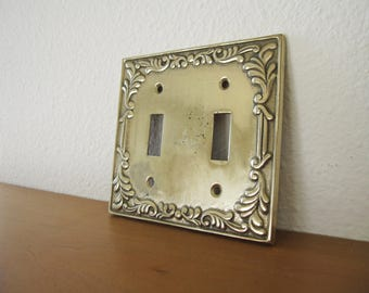 Vintage Brass Double Light Switchplate Switch Plate Leaf Leaves