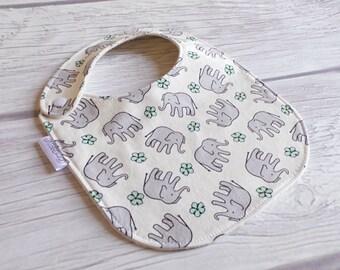 Elephant Baby Bib / Side Snap Bib / Drool Bib / Teething Bib / Organic Cotton Fleece / Gender Neutral Baby / Elephants