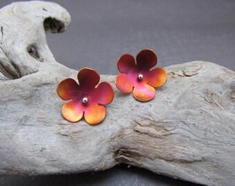 Cherry Blossom Earrings, Flower Earrings, Copper Earrings, Stud Earrings, Sakura Earrings, Blossom Earrings, Bridesmaid Gift, Gift for Her
