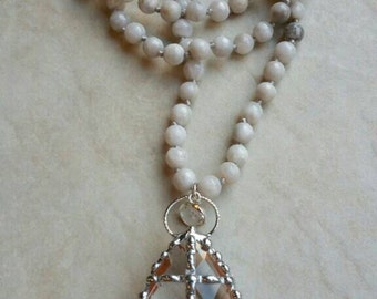 Naturally Clear Collection Design by MJMDesigns™; Hand soldered crystal cross on hand knotted agate gemstone beads