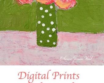 Floral Digital Print. Pink & Green Flower Print. Gift for Mom. No 7