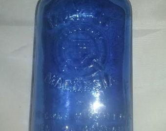 Vintage Milk Of Magnesia Bottle. Blue Glass Bottle. Antique Milk Of Magnesia Bottle. Old Bottle Decor. Antique Medicine Bottle.