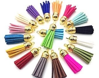 Tassels - Small Tassels - 10 or 25 Gold Cap, Color Mix - Tassel Pendant Charms - 35mm Tassel Charms - Mini Tassels For Jewelry - TC-G001