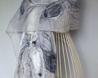Nunofelted Silk Shawl, Gray Nunofelt Scarf, Nuno Felt Silk Shawl