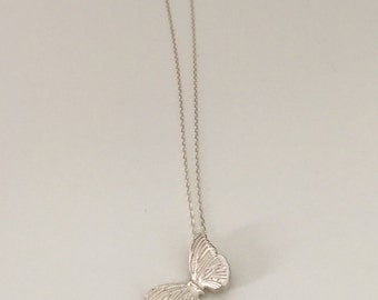 Butterfly necklace, fine silver pendant, sterling silver chain
