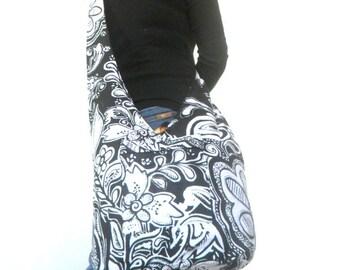 Reversible Sling Bag Boho Bag Hobo Hippie Bag Hippie Bag Crossbody Bag Bohemian Bag Shoulder Bag Messenger Bag Black white Color