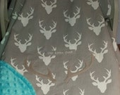 "Car Seat Canopy Cover Gray Buck Camo Baby! 100% Cotton With Aqua Minky Dot Lining Custom Embroidery ""Our Little Buck or Doe"" & Antlers"