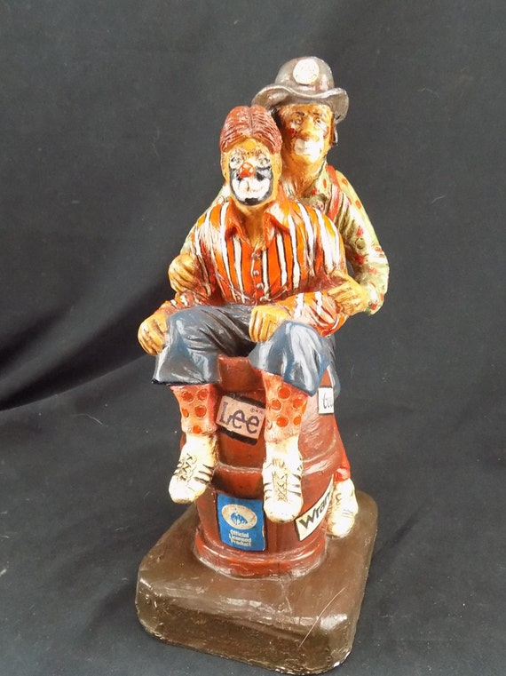 P. J. Moore Chalkware Sculpture Wrangler Rodeo Clowns Figures