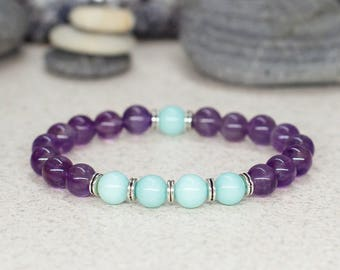 Gift-for-her gift-for-girlfriend gift-for-wife Amethyst bracelet Reiki healing bracelet Gemstone bracelet Elastic bracelet Fashion jewelry