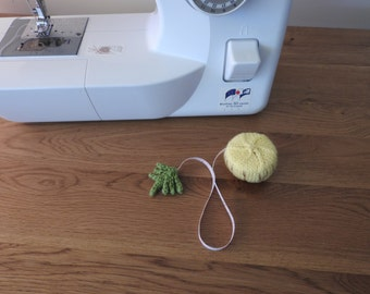 Yellow Pineapple Pin Cushion/Covered Retractable Tape Measure, #OOAK, Hand knitted