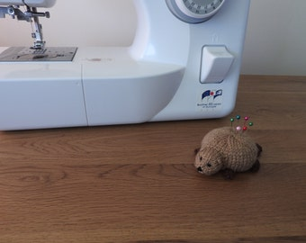 Beaver Pin Cushion Critter, Desk Toy, #OOAK, Hand knitted