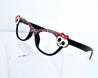 Sugar Skull Reading Glasses, Readers +1.00, Skull readers, Cat eye glasses