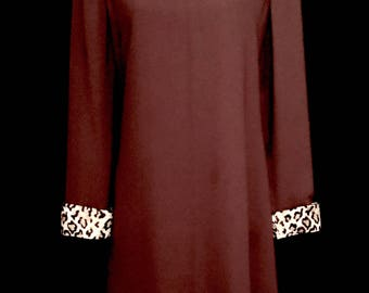 60's Brown and Faux Leopard Lampshade Dress     VG292