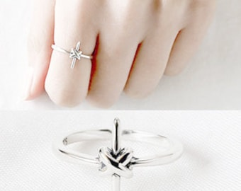 Knot Cross Ring Vintage 925 Silver Knotted Adjustable Open Ring Simple Dainty Stack Knuckle Ring Birthday Wedding Holiday Christmas Gift
