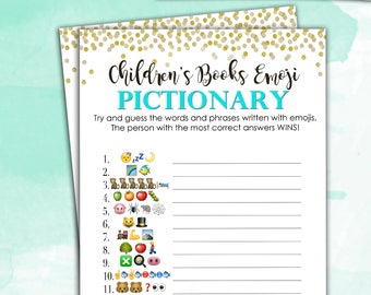 Baby Shower Game Pictionary - Teal Blue EMOJI Pictionary - Children's Books - Instant Printable Digital Download diy Baby Shower Printables