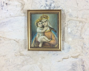 French Gilt Framed Religious Print. Vintage Mother and Child Wood Framed Print Miniature