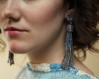 Clip on tassel earrings / Seed Bead Jewelry / Non pierced earrings for prom / Long Statement Earrings / Metallic Jewellery for parties