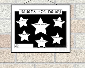Last minute Father's Day Printable - Printable Father's Day Gift - All about Daddy Fill in Questionnaire - interview Badges for Dad from kid