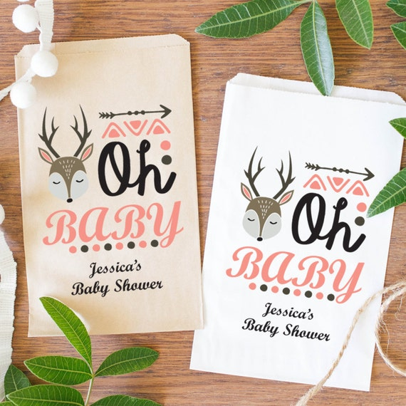 oh baby favor bags baby shower treat bags woodland animal party