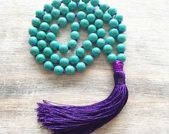 Tassel necklace- bohemian jewelry- long tassel necklace- bohemian necklace- beaded necklace- ocean necklace- purple necklace- jewelry