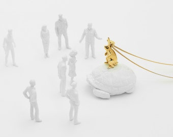 Rabbit Pendant with chain (Brass, Bronze 3d Printed Rabbit Jewelry)