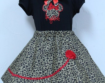 Minnie Mouse Girl outfit, Personalized Minnie outfit, Custom Boutique Girls Outfit,  Animal Print Twirl skirt, Girls Animal Kingdom outfit