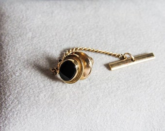 "Vintage LAMC DEKARAT Oval Tie Tack With Chain Tack Is 1/2"" Chain Is 2"""