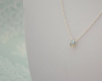 Faceted Labradorite Teardrop Necklace, Sterling Silver Wire Wrapped Briolette Pendant