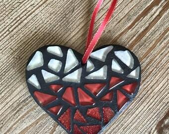 Mosaic Heart Ornament, Heart, Red Ombre Heart, Heart Decor, Wedding Gift, Anniversary, Love, Gifts for Teachers, Christmas Ornament