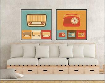 Radio Print, Radio Poster, Radio Art, Set of 2 Prints, Radio Wall Decor, Retro Prints, Retro Poster, Vintage Radio Print, Vintage Radios Art